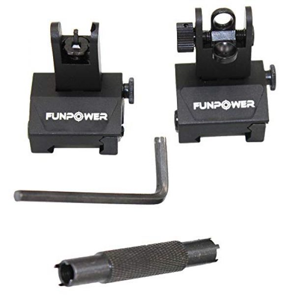 Funpower Airsoft Gun Sight 1 Funpower Tactical Front and Rear Flip Up Iron Sight for Rifle