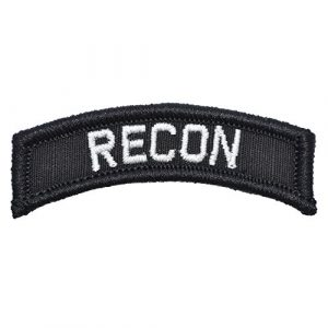 Tactical Gear Junkie Airsoft Patch 1 Recon Tab Morale Patch with Hook Fastener (Black)
