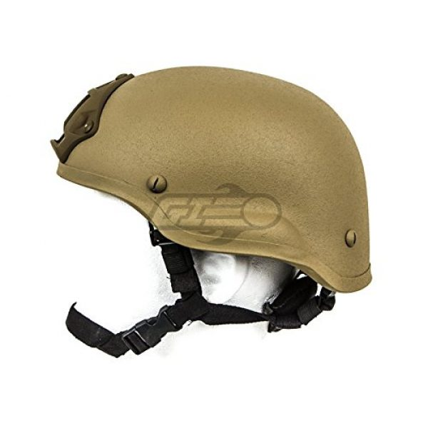 Lancer Tactical Airsoft Helmet 3 Lancer Tactical CA-727 MICH 2002 Safety Airsoft Helmet w/ NVG Mount (Tan)