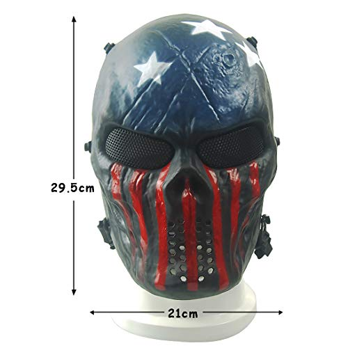 Senmortar Airsoft Mask 2 Senmortar Airsoft Mask Full Face Skull Masks Tactical Eyes Protection Creepy Costume for Paintball Halloween Cosplay Party BBS Gun Shooting Game Captain Wildfire Black Silver Grey Green Skeletons