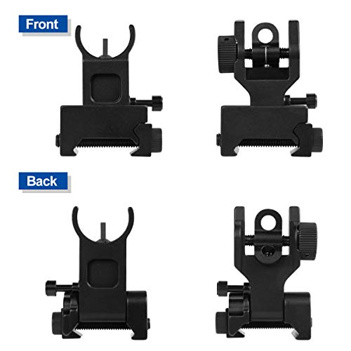 Gogoku Airsoft Gun Sight 2 Gogoku Flip Up Iron Sight Front Rear Sight Compatible for Picatinny Rail and Weaver Rail Foldable Sights