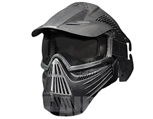 A&N Airsoft Mask 4 A&N Full Face Mask Airsoft Paintball Sports Protection with Goggles Attached Black