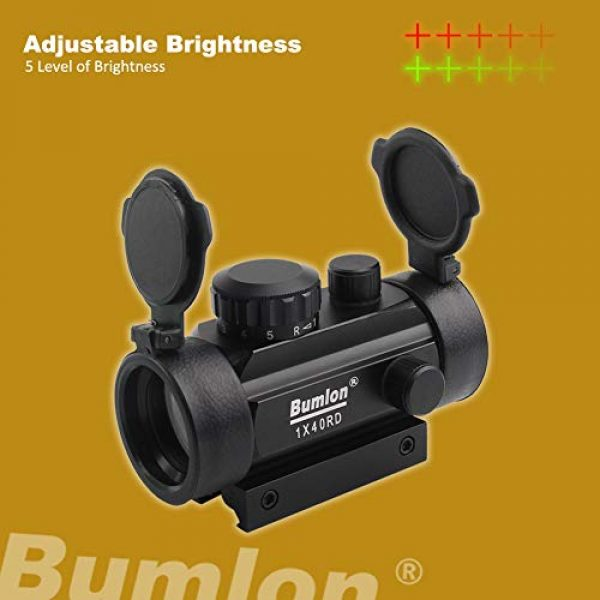 Bumlon Airsoft Gun Sight 5 Bumlon Red Green Dot Sight Rifle Scope Reflex Holographic Optics Tactical Fits 11mm/ 20mm Rail with Flip up Lens Cover for Airsoft Gun