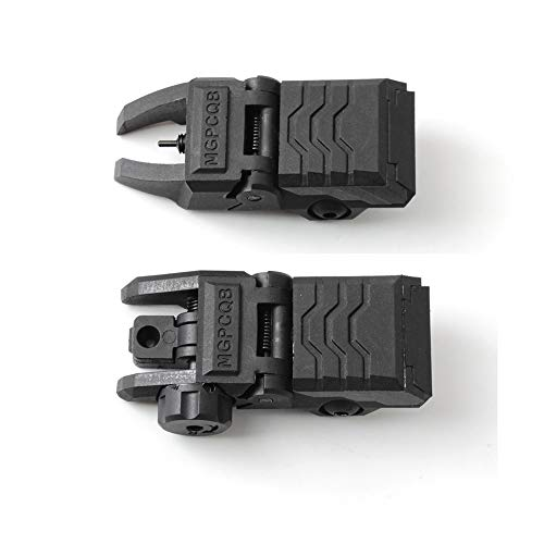 ZLIXING Airsoft Gun Sight 2 ZLIXING Foldable Front and Rear Sights Low Profile Flip up Sights Tactical Pop up Backup Sights for Picatinny Rail