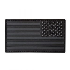 LEGEEON Airsoft Patch 1 LEGEEON All Black ACU Dark Subdued USA American Reversed Flag Morale PVC Rubber Touch Fastener Patch
