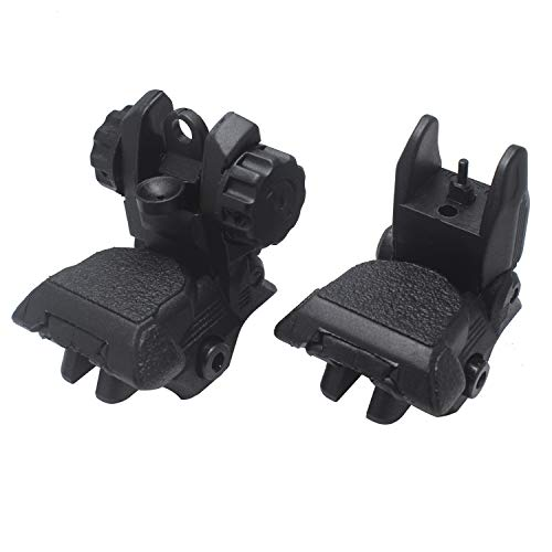 AWOTAC Airsoft Gun Sight 2 AWOTAC Polymer Black Flip-up Front and Rear Sight Fit Picatinny Weaver Rails