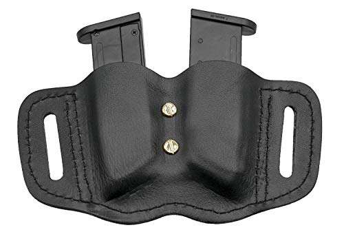 MAYMOC  2 MAYMOC Tactical Leather Magazine Holder Sizes to fit virtually Any 9mm .40 .45 or .380 Pistol Mag Single or Double Stack IWB or OWB