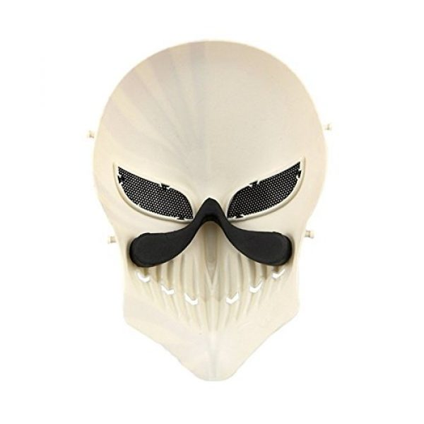 Protective Tactical Skull Costume Mask with Metal Mesh Eye Protection for Airsoft/Paintball/CS/War Game/BB Gun and Halloween Party