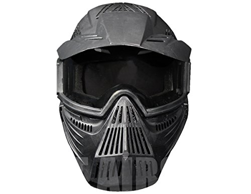 A&N Airsoft Mask 2 A&N Full Face Mask Airsoft Paintball Sports Protection with Goggles Attached Black