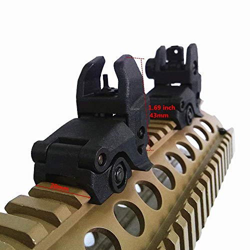HWZ Airsoft Gun Sight 1 HWZ Tactical Folding Front & Rear Set Flip Up Backup Sights BUIS Black