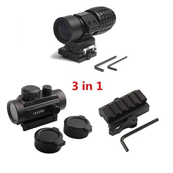 Luger Airsoft Gun Sight 2 Luger Tactical 1x40mm Red Green Dot Sight + 3X Magnifier Scope with Quick Detach Flip to Side + QD 5 Slots Rail Riser Combo Kit