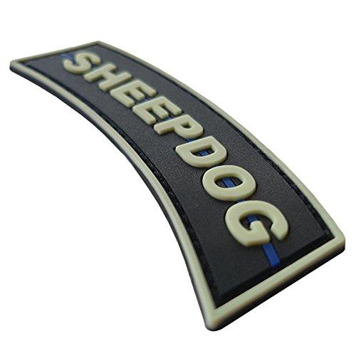 LEGEEON Airsoft Patch 4 LEGEEON Glow Dark Sheepdog Tab Thin Blue Line Law Enforcement PVC Rubber Hook&Loop Patch