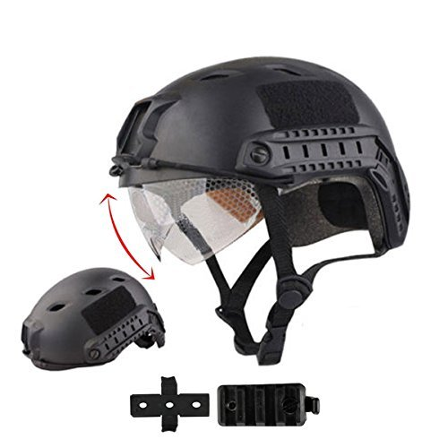iMeshbean Airsoft Helmet 1 iMeshbean PJ Type Tactical Multifunctional Fast Helmet with Visor Goggles Version Black (Black)