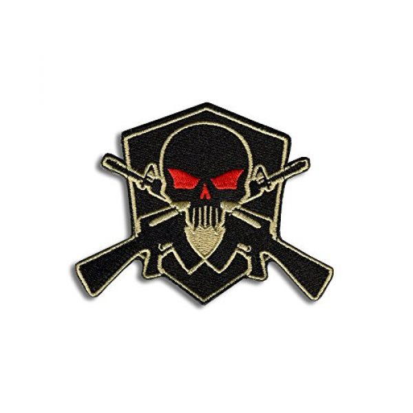 BASTION Airsoft Morale Patch 1 BASTION Morale Patches (Skull Shield, Tan) | 3D Embroidered Patches with Hook & Loop Fastener Backing | Well-Made Clean Stitching | Military Patches Ideal for Tactical Bag, Hats & Vest