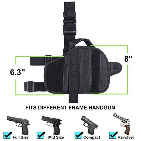 XAegis  4 XAegis Drop Leg Holster for Pistols Tactical Thigh Rig Gun Holster with Magazine Pouch Adjustable Right Handed