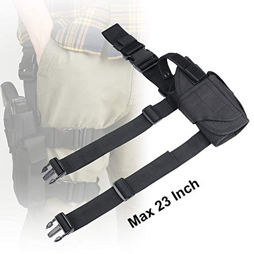 XAegis  6 XAegis Drop Leg Holster for Pistols Tactical Thigh Rig Gun Holster with Magazine Pouch Adjustable Right Handed