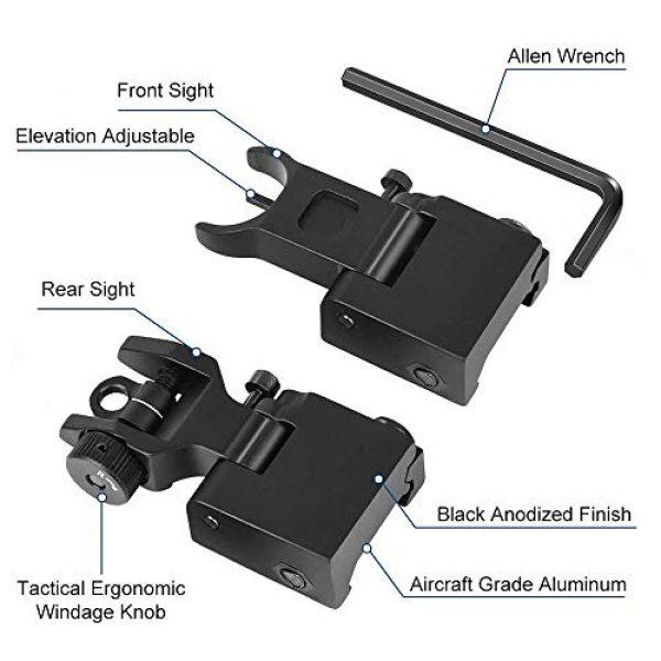 Gogoku Airsoft Gun Sight 3 Gogoku Flip Up Iron Sight Front Rear Sight Compatible for Picatinny Rail and Weaver Rail Foldable Sights