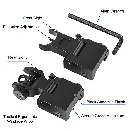 Gogoku Airsoft Gun Sight 3 Gogoku Flip Up Iron Sight Front Rear Sight Compatible for Picatinny Rail and Weaver Rail Foldable Sights
