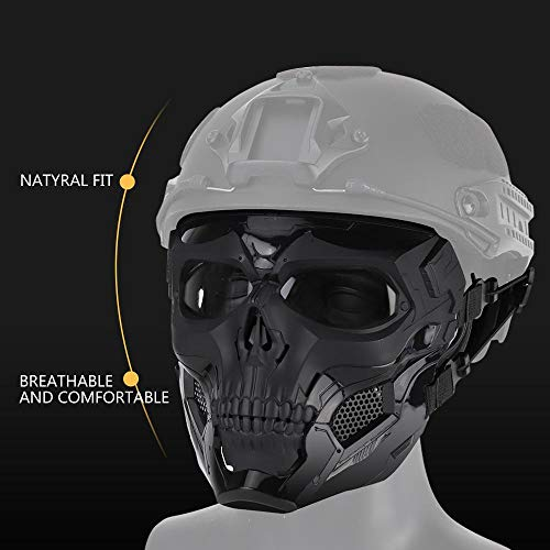Cool Skull Half Face Camouflage Army Equipment Mask Helmet with Sponge Pad and Headband Rope