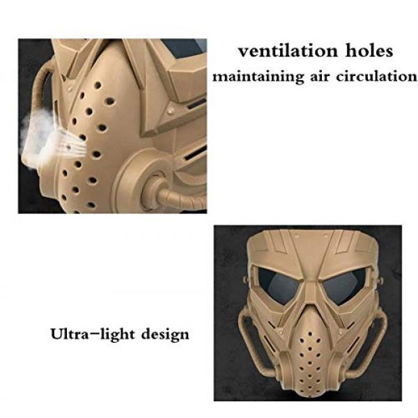 JFFCESTORE Airsoft Mask 6 JFFCESTORE Original Creation Tactical Anti-Fog Airsoft Mask with Clear Lens Protective Full Face mask Dual Mode Wearing Design Adjustable Strap for Airsoft Paintball Cosplay Costume Party Hockey
