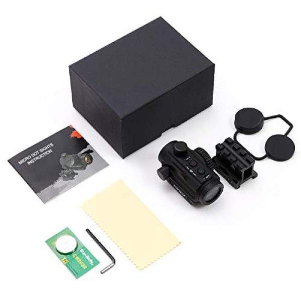 Pinty Airsoft Gun Sight 7 Pinty 3 MOA Red Green Dot Sight Brightness Button Control with 1 inch High Mount Compact Red Dot Scope 1 Riser Mount for Cowitness with Iron Sights Waterproof and Shockproof