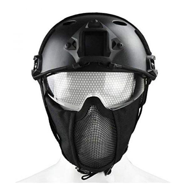 JFFCESTORE Airsoft Helmet 3 JFFCESTORE PJ Type Tactical Multifunctional Fast Helmet and Foldable Adjustable Half Mesh Mask