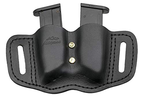MAYMOC  1 MAYMOC Tactical Leather Magazine Holder Sizes to fit virtually Any 9mm .40 .45 or .380 Pistol Mag Single or Double Stack IWB or OWB