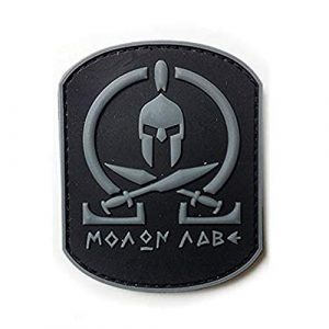Morton Home Airsoft Patch 1 Morton Home Molon Labe Fastener Patch | Airsoft Paintball Tactical Military Rubber Badges PVC Rubber 3D Morale (Gray)