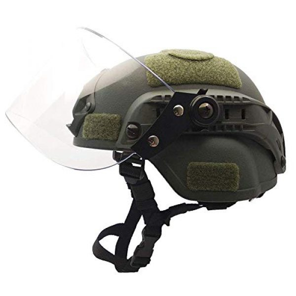 Will Outdoor Airsoft Helmet 2 Lightweight Quick-Protection Helmet Mich 2000 with Anti-Riot Sunshade Sliding Goggles and Side Rail NVG Bracket.