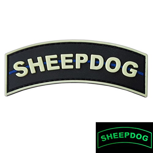 LEGEEON Airsoft Patch 1 LEGEEON Glow Dark Sheepdog Tab Thin Blue Line Law Enforcement PVC Rubber Hook&Loop Patch