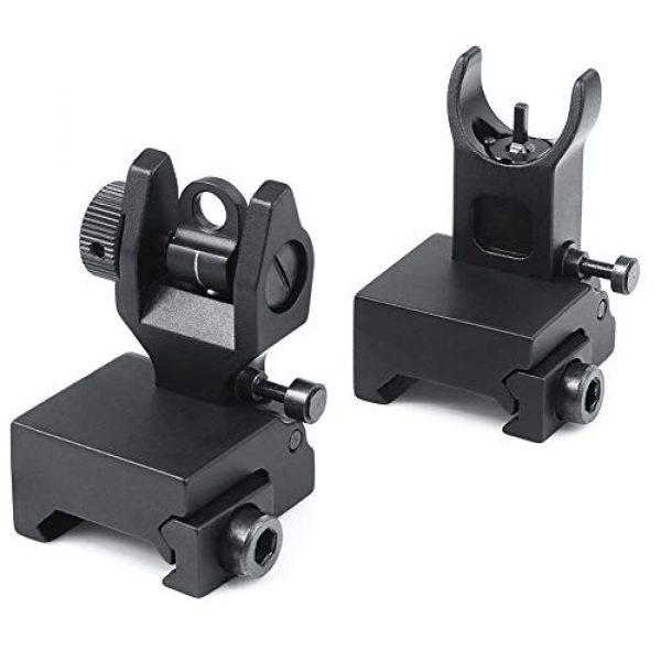 Feyachi Airsoft Gun Sight 1 Feyachi Flip Up Rear Front and Iron Sights Best Backup fits Picatinny & Weaver Rails Black