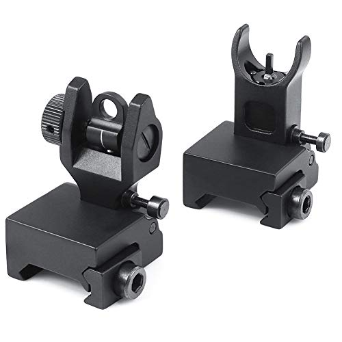 Feyachi Airsoft Gun Sight 1 Feyachi Flip Up Rear Front and Iron Sights Best Backup fits Picatinny & Weaver Rails Black