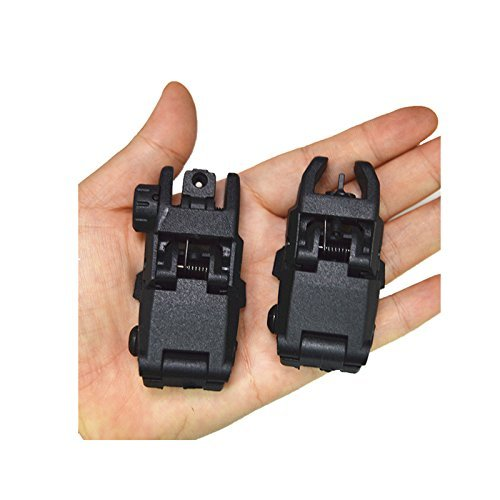 HWZ Airsoft Gun Sight 5 HWZ Tactical Folding Front & Rear Set Flip Up Backup Sights BUIS Black