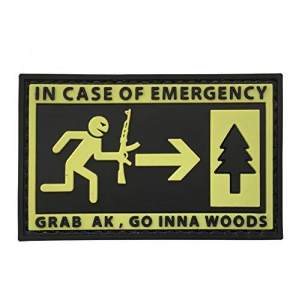 uuKen Airsoft Patch 1 in Case of Emergency,Grab AK and Go into Woods 3D Rubber Morale Patch Military Tactical Airsoft by uuKen Tactical Gear