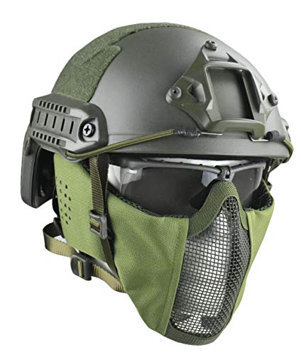 JFFCESTORE Airsoft Helmet 1 Jffcestore MH Updated Version Fast Tactical Helmet Combined with Foldable Half Face Mesh Mask and Goggles for CS Game Set