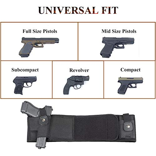 LIVIQILY  4 LIVIQILY Tactical Belly Band Gun Holster Right-Hand Concealed Carry Invisible Elastic Waist Pistol Holster Girdle Belt