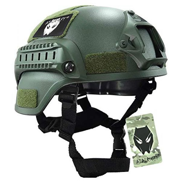 ATAIRSOFT Airsoft Helmet 1 ATAIRSOFT Tactical Airsoft Paintball MICH 2000 Helmet with Side Rail & NVG Mount