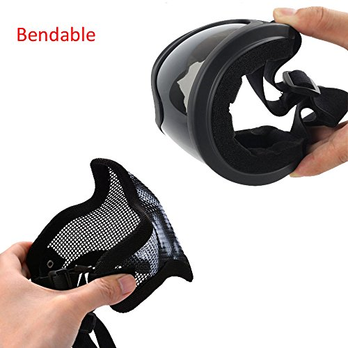 Infityle Airsoft Mask 2 Infityle Airsoft Masks - Half Metal Steel Mesh Face Mask Military Style Comfortable Adjustable and UV400 Goggles Set for Hunting