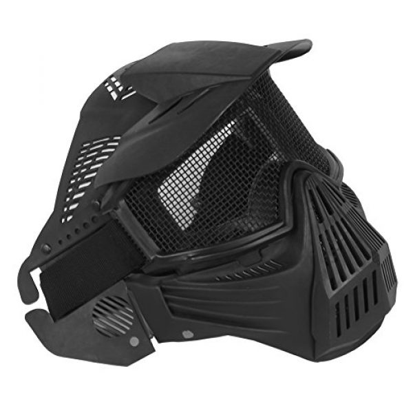 A&N Airsoft Airsoft Mask 1 WoSporT Tactical Transformers Leader Mask Steel Mesh Breathable Full Face Safety CS Field Airsoft Wargame Paintball Army Masks - Black