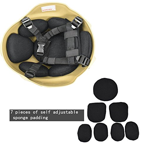 Jadedragon Airsoft Helmet 6 Jadedragon MICH 2000 Style ACH Tactical Helmet with Protect Ear Foldable Double Straps Half Face Mesh Mask & Goggle