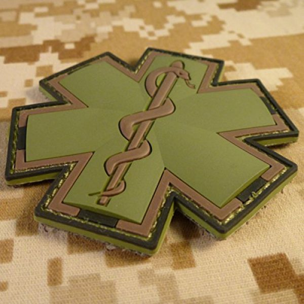 LEGEEON Airsoft Morale Patch 2 LEGEEON Olive Drab Multicam OD EMS EMT Medic Paramedic Star of Life Morale PVC Hook&Loop Patch
