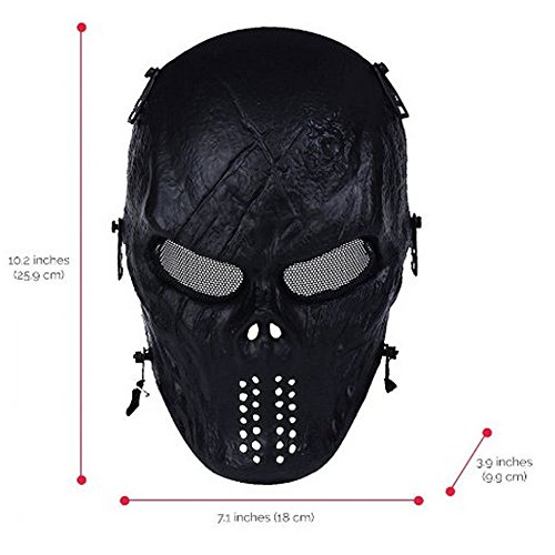 WalkingMan Airsoft Mask 3 WalkingMan Skull Airsoft Wire Masks Full Face Paintball Mask with Metal Mesh Eye Protection for BB Gun/CS Game/Tactical Outdoor Ghost Mask Men - Scary Skeleton Zombie Mask Guy Fawkes