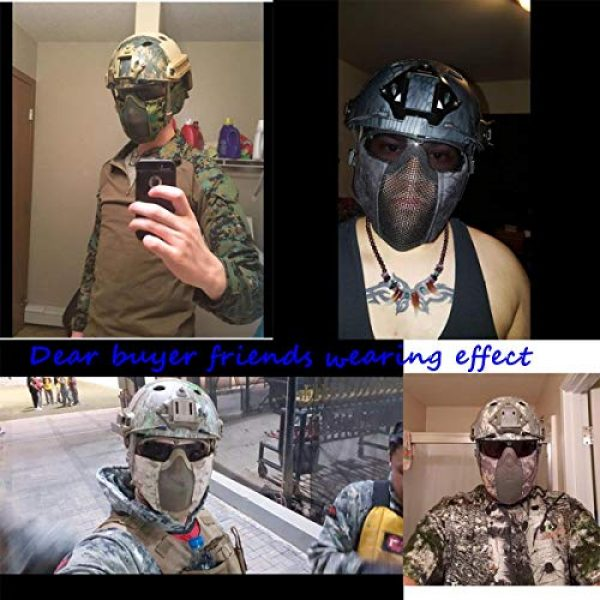 Jadedragon Airsoft Helmet 2 Jadedragon PJ Tactical Fast Helmet & Protect Ear Foldable Double Straps Half Face Mesh Mask & Goggle