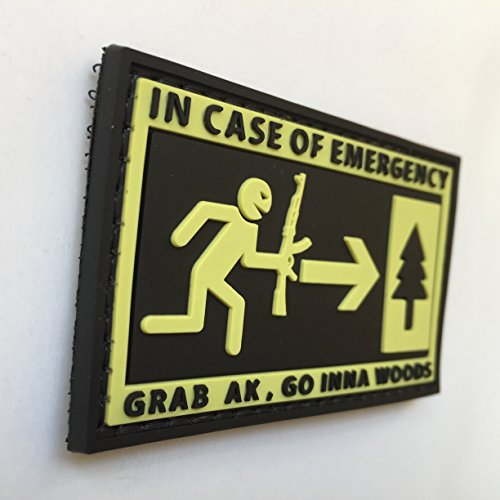 uuKen Airsoft Patch 2 in Case of Emergency,Grab AK and Go into Woods 3D Rubber Morale Patch Military Tactical Airsoft by uuKen Tactical Gear