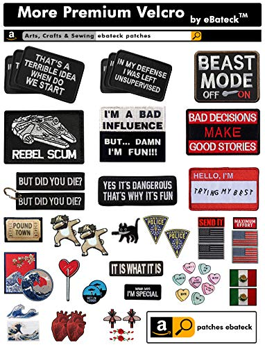 Ebateck Airsoft Patch 3 2 Pack in My Defense I was Left Unsupervised Patch - Embroidered Morale Patches Tactical Funny for Hat