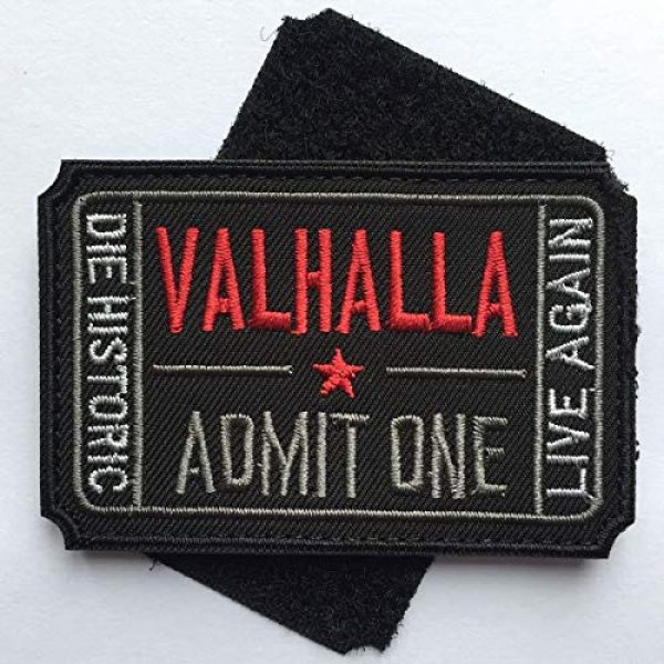 Homeigo Airsoft Patch 2 Homiego Ticket to Valhalla Admit One Die Historic Live Again Tactical Morale Badge Hook & Loop Patch (Black)