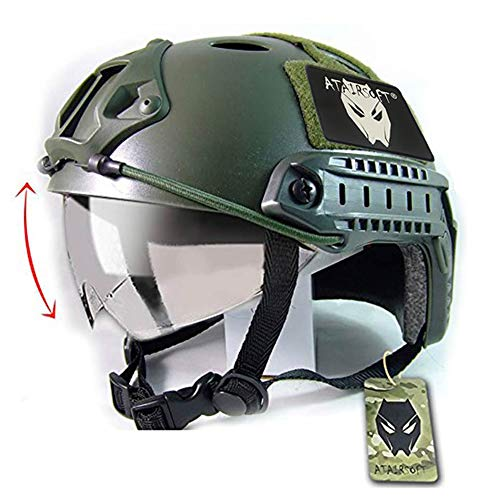 ATAIRSOFT Airsoft Helmet 1 ATAIRSOFT Breathable Tactical Airsoft Fast PJ Helmet w/Sliding Goggles OD Green