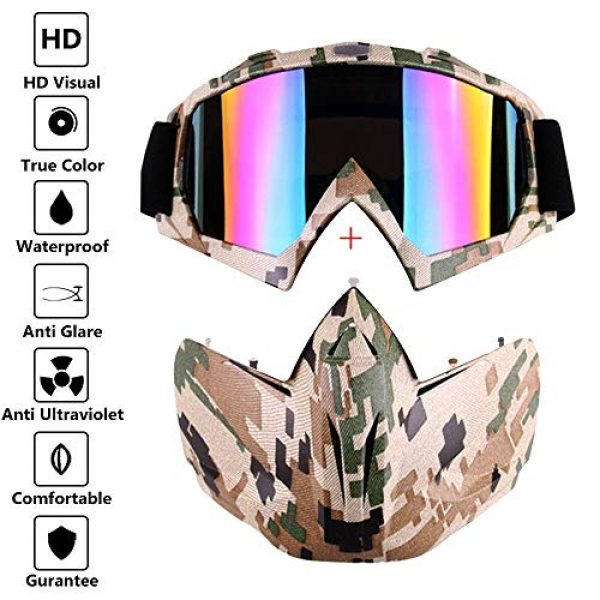Outamateur Airsoft Mask 4 Outamateur Motorcycle Goggles Mask - Tactical Glasses with Detachable Mask Adjustable Windproof Outdoor Paintball Airsoft Mask Face Shield for Kids Youth Men Women