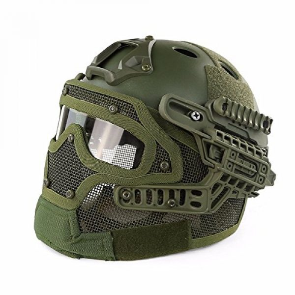 iMeshbean Airsoft Helmet 1 iMeshbean Fast Tactical Helmet Combined with Full Mask and Goggles for Airsoft Paintball CS and Other Outdoor Activities Free Size