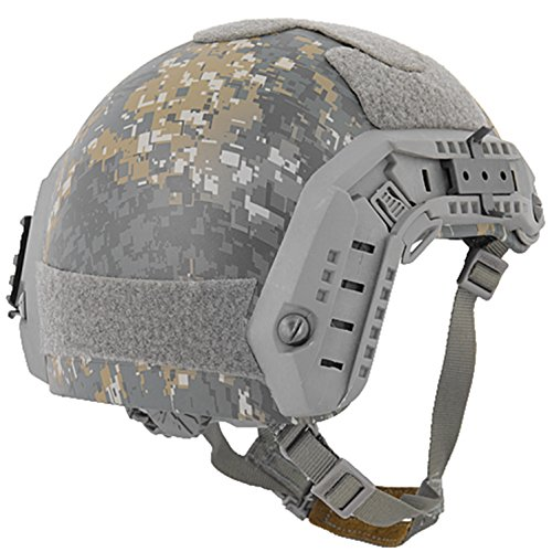 Lancer Tactical Airsoft Helmet 5 Lancer Tactical Medium - Large Industrial ABS Plastic Constructed Maritime Helmet Adjustable Crown 20mm Side Rail Adapter Velcro Padding Stickers NVG Shroud Bungee Retention - Woodland Camouflage